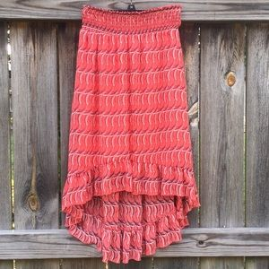 High Low Patterned Skirt